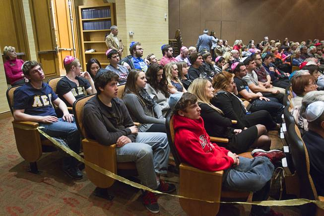 High students listen to Ret. Major Leonard Berney speaks at Congregation Ner Tamid in Henderson Monday, Jan. 27, 2014. Berney was a member of British forces that liberated the Bergen-Belsen concentration camp during Word War II. The presentation was part of International Holocaust Memorial Day.