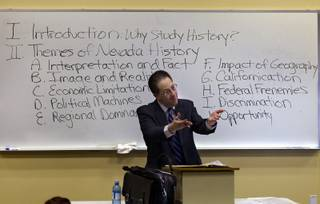 Historian Michael Green educates senior students during a Nevada history class at at CSN on Monday, Jan. 27, 2014.