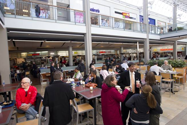 Customers at the food court at The Mall in Columbia, Md, after the mall was re-opened to the public on Monday Jan. 27, 2014.