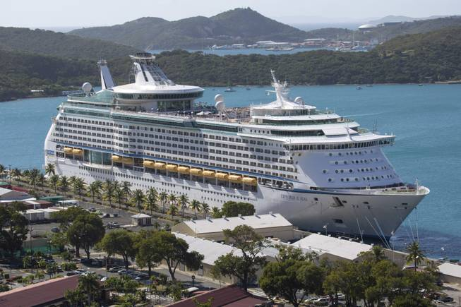 The Royal Caribbean International's Explorer of the Seas is docked at Charlotte Amalie Harbor in St. Thomas, U. S. Virgin Islands, Sunday, Jan. 26, 2014. U.S. health officials boarded the cruise liner to investigate an illness outbreak that hit at least 300 people with gastrointestinal symptoms including vomiting and diarrhea.