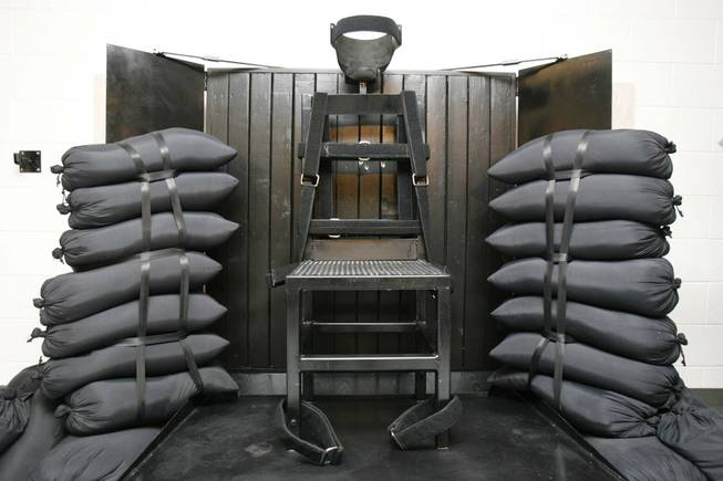 This June 18, 2010, file photo shows the firing squad execution chamber at the Utah State Prison in Draper, Utah. With lethal-injection drugs in short supply and new questions looming about their effectiveness, lawmakers in some death penalty states are considering bringing back relics of a more gruesome past, including firing squads.