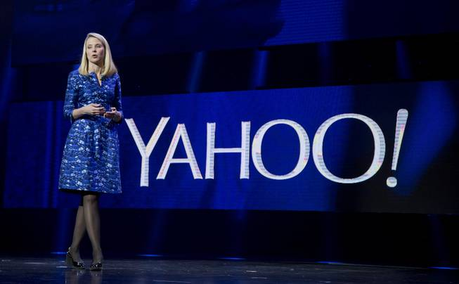 Yahoo President and CEO Marissa Mayer speaks during a keynote address at the International Consumer Electronics Show on Tuesday, Jan. 7, 2014, in Las Vegas.