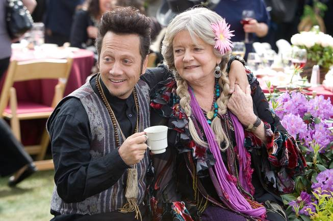 "In this film publicity image released by Columbia Pictures, Rob Schneider, left, and Joyce Van Patten are shown in a scene from ""Grown Ups."" (AP Photo/Columbia Pictures-Sony, Tracy Bennett)"