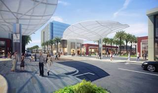 A streetscape rendering of the Shops at Summerlin.