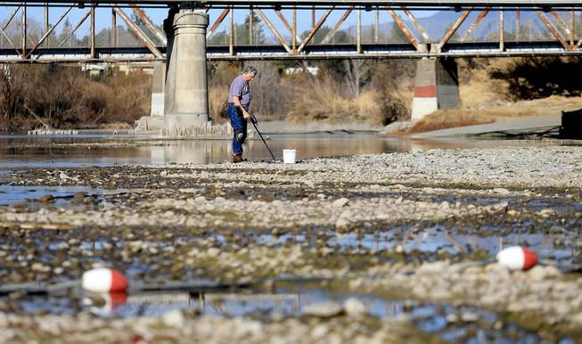 Hugh Beggs of Santa Rosa, Calif., searches for coins in the middle of the Russian River at Healdsburg Veterans Memorial Beach in Healdsburg, Calif., taking advantage of the way below normal river flow,  Jan. 14, 2014.