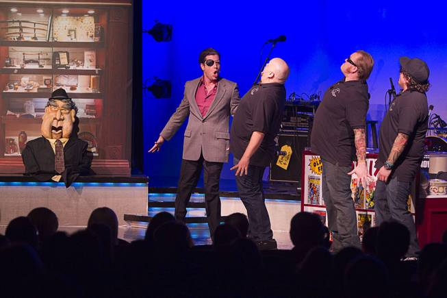 "A Las Vegas city councilman (with eyepatch) pays a visit during ""Pawn Shop Live!"" at the Golden Nugget Thursday, Jan. 30, 2014. The production show is a parody based on the story of Gold & Silver Pawn, home of the History Channel's Pawn Stars television series."