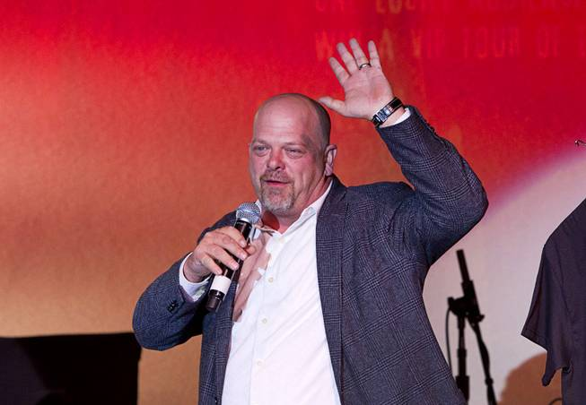 "Rick Harrison waves to the audience after a performance of ""Pawn Shop Live!"" at the Golden Nugget Thursday, Jan. 30, 2014. The production show is a parody based on the story of Gold & Silver Pawn, home of the History Channel's Pawn Stars television series."