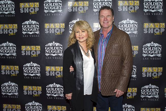 "Actress and singer Pia Zadora and her husband, Michael Jeffries, on the red carpet after attending a performance of ""Pawn Shop Live!"" on Thursday, Jan. 30, 2014, at the Golden Nugget."