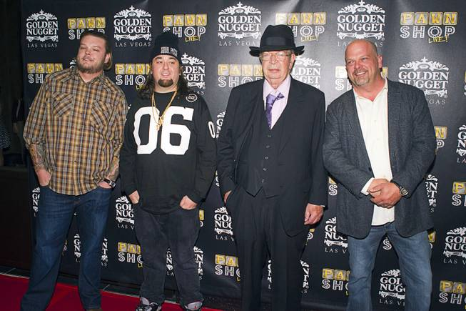"Corey ""Big Hoss"" Harrison, Austin ""Chumlee"" Russell, Richard ""The Old Man"" Harrison and Rick Harrison on the red carpet after attending a performance of ""Pawn Shop Live!"" on Thursday, Jan. 30, 2014, at the Golden Nugget."