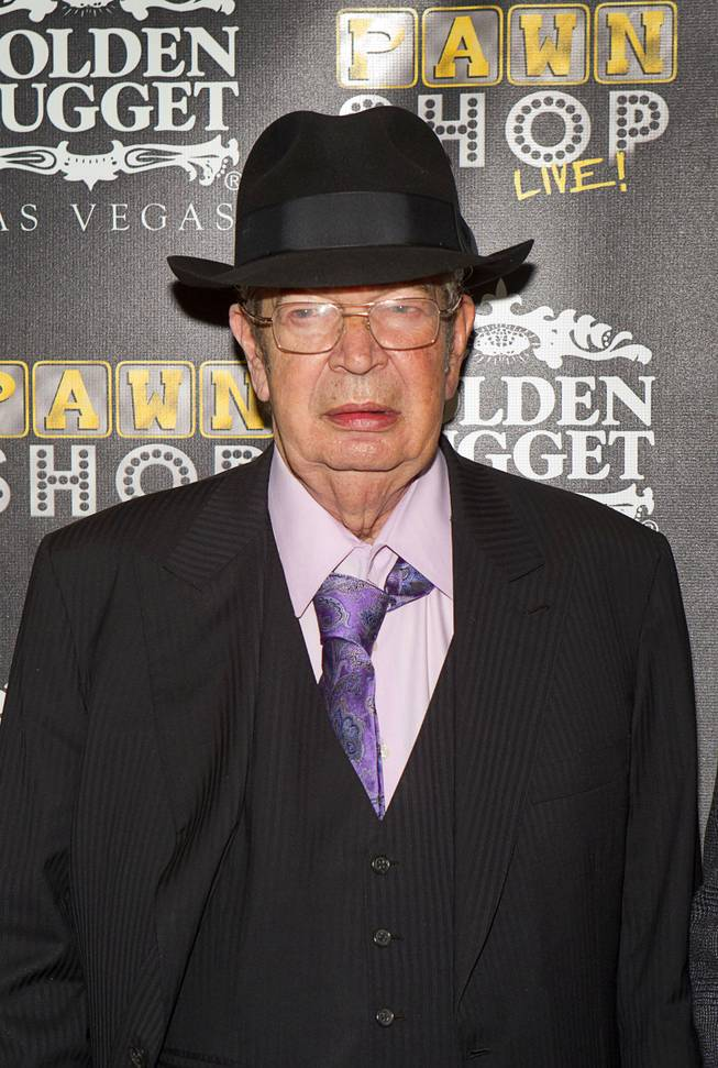 "Richard ""The Old Man"" Harrison poses on the red carpet after attending a performance of ""Pawn Shop Live!"" at the Golden Nugget Thursday, Jan. 30, 2014. The production show is a parody based on the story of Gold & Silver Pawn, home of the History Channel's Pawn Stars television series."