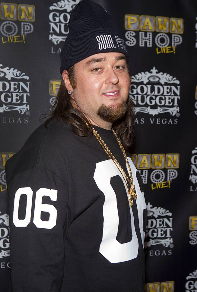 "Austin ""Chumlee"" Russell poses on the red carpet after attending a performance of ""Pawn Shop Live!"" at the Golden Nugget Thursday, Jan. 30, 2014. The production show is a parody based on the story of Gold & Silver Pawn, home of the History Channel's Pawn Stars television series."