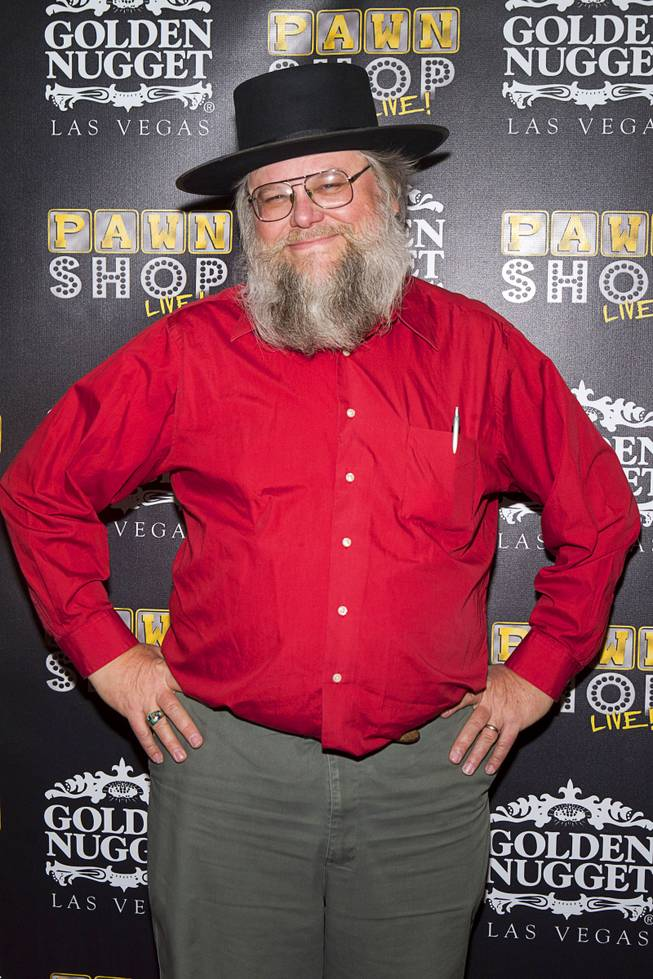 "Mark Hall-Patton poses on the red carpet after attending a performance of ""Pawn Shop Live!"" at the Golden Nugget Thursday, Jan. 30, 2014. The production show is a parody based on the story of Gold & Silver Pawn, home of the History Channel's Pawn Stars television series."