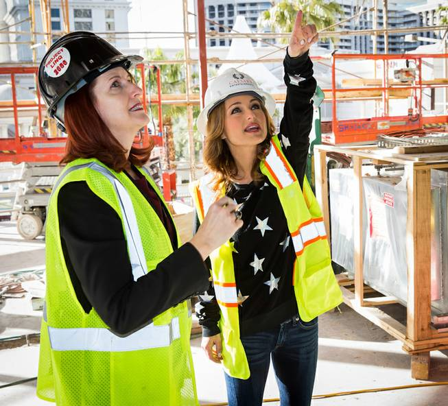 Karie Hall, general manager of The Cromwell Las Vegas, and chef Giada De Laurentiis tour Giada, the latter's restaurant scheduled to open this spring, on Monday, Jan. 27, 2014, at The Cromwell.