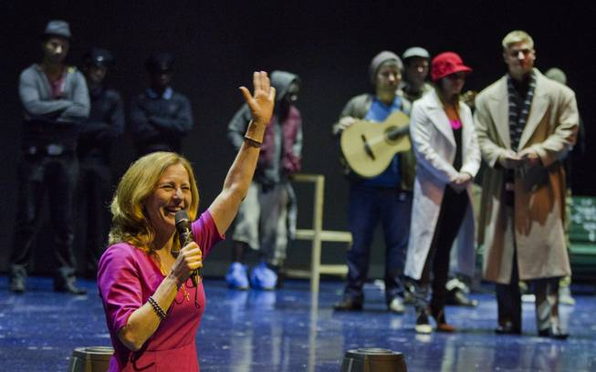 "Julie Murray, Principal CEO of Moonridge Group, thanks all for attending a rehearsal at the Michael Jackson Theater on Thursday, Jan. 30, 2014, for this year's ""One Night for One Drop"" fundraising performance at Mandalay Bay."