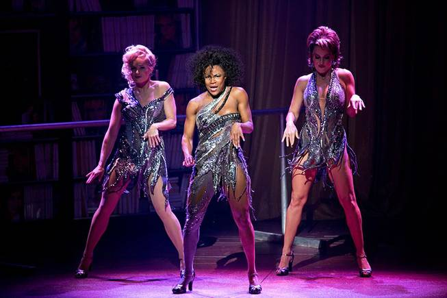 "Kelly Felthous (Gloria), Dequina Moore (Kiki) and Katie Webber (Tess) in ""Flashdance: The Musical."""