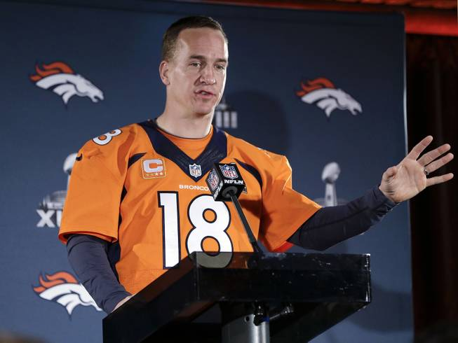 Denver Broncos quarterback Peyton Manning talks with reporters during a news conference Thursday, Jan. 30, 2014, in Jersey City, N.J. The Broncos are scheduled to play the Seattle Seahawks in the NFL Super Bowl XLVIII football game Sunday, Feb. 2, in East Rutherford, N.J.