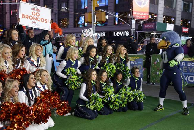Denver Broncos cheerleaders and Seattle Seahawks Sea Gals cheerleaders appear with Blitz, the Seahawks mascot, Friday, Jan. 31, 2014 during a live broadcast of Good Morning America at Times Square in New York. The Seattle Seahawks will play the Broncos Sunday in the NFL Super Bowl XLVIII football game in East Rutherford, N.J.