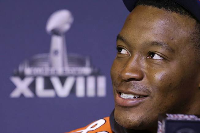 Denver Broncos wide receiver Demaryius Thomas talks with reporters during a news conference Thursday, Jan. 30, 2014, in Jersey City, N.J. The Broncos are scheduled to play the Seattle Seahawks in the NFL Super Bowl XLVIII football game Sunday, Feb. 2, in East Rutherford, N.J.