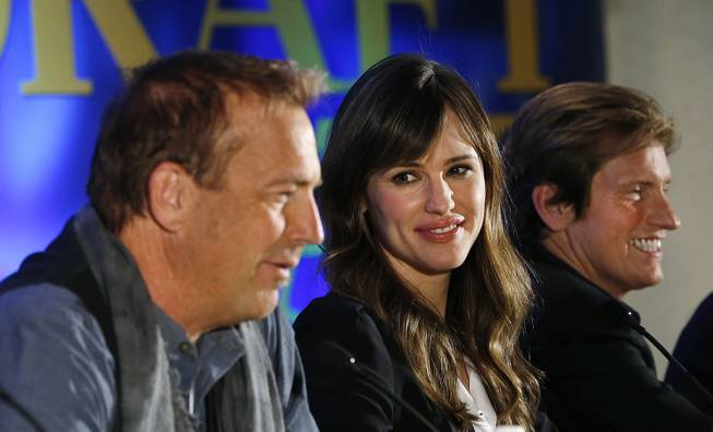 "Actors, from left, Kevin Costner, Jennifer Garner and Denis Leary appear at a news conference for the movie ""Draft Day"" in New York on Friday, Jan. 31, 2014."