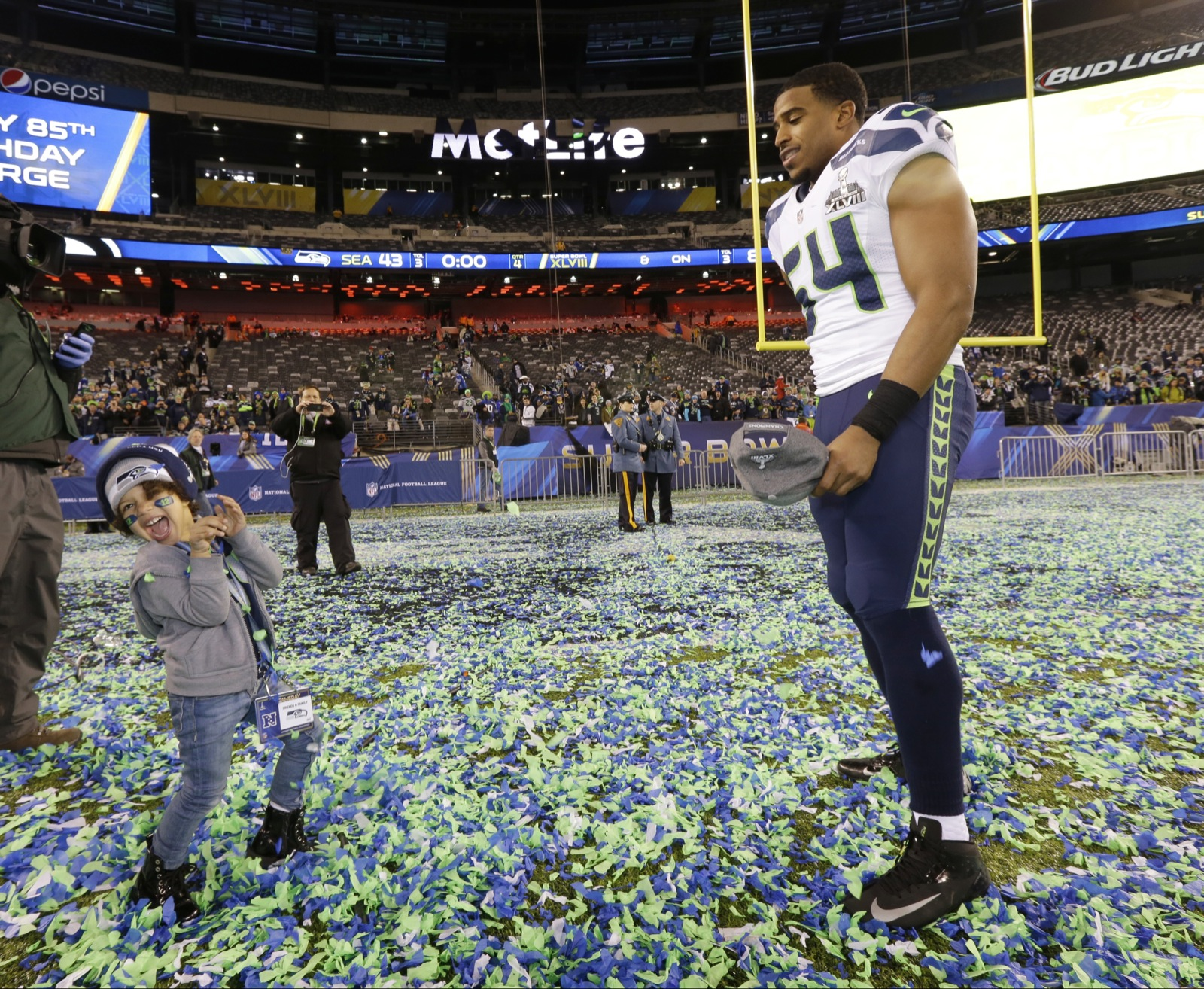 Super Bowl Post Game Seattle Seahawks Bobby Wagner celebrates