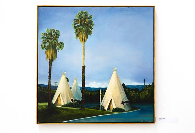 """Sleep in a Teepee,"" artwork by Suzanne Hackett-Morgan, is displayed at the Sahara West Library."