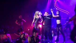 "Jeff Beacher onstage with Britney Spears in Spears' ""Britney: Piece of Me"" in the Axis at Planet Hollywood."