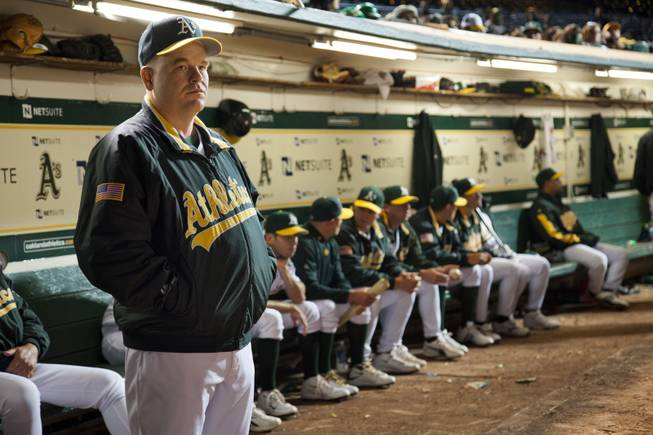 "In this image released by Sony Pictures, Philip Seymour Hoffman is shown in a scene from ""Moneyball."""