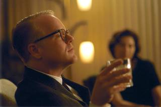 In this file photo provided by Sony Pictures Classics, Philip Seymour Hoffman as Tuman Capote, a one-of-a-kind author sent to Kansas to pen an article about the brutal murder of a family in a small Kansas town that sent shockwaves through the nation in
