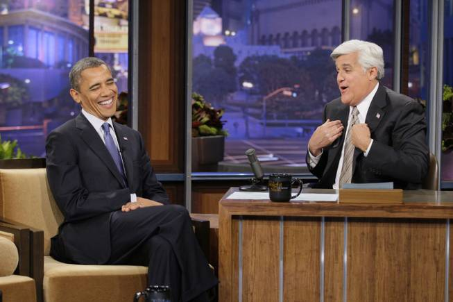 "This Oct. 12, 2012, photo released by NBC shows President Barack Obama during an interview with host Jay Leno on ""The Tonight Show with Jay Leno,"" in Burbank, Calif. After 22 years, Leno will host his last show on Thursday, Feb. 6, 2014."