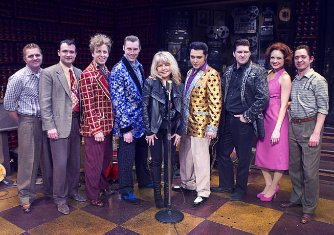 "Singer/actress Pia Zadora, center, poses with cast members following a guest performance in ""Million Dollar Quartet"" at Harrah's Tuesday, Feb. 4, 2014."