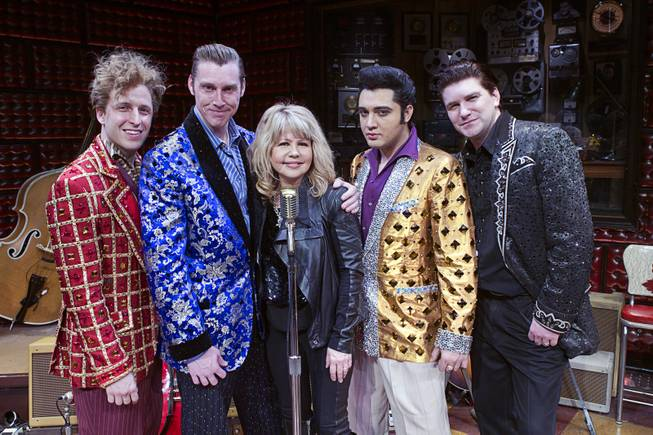 "Singer/actress Pia Zadora, center, poses with cast members, from left, Martin Kaye, Scott Hinds, Justin Shandor, and Benjamin Hale following a guest performance in ""Million Dollar Quartet"" at Harrah's Tuesday, Feb. 4, 2014."