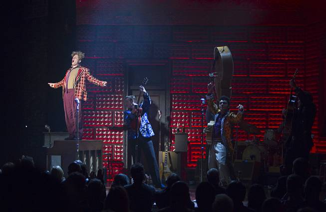 "Martin Kaye, left, as Jerry Lee Lewis and other cast members perform in ""Million Dollar Quartet"" at Harrah's Tuesday, Feb. 4, 2014."