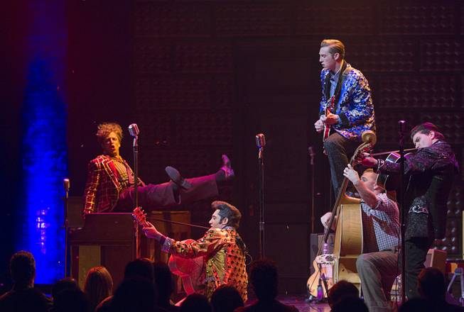"Cast members perform in ""Million Dollar Quartet"" at Harrah's Tuesday, Feb. 4, 2014. From left, Martin Kaye as Jerry Lee Lewis, Justin Shandor as Elvis, Scott Hinds as Carl Perkins, Josh Jones on bass, and Benjamin Hale as Johnny Cash."