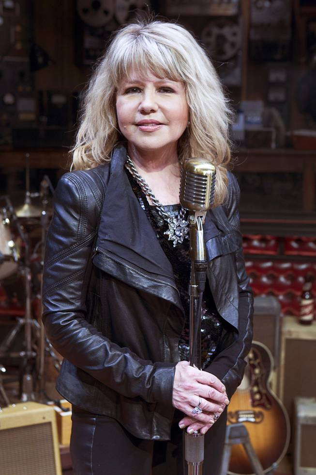 "Singer/actress Pia Zadora poses on stage following a guest performance in ""Million Dollar Quartet"" at Harrah's Tuesday, Feb. 4, 2014."