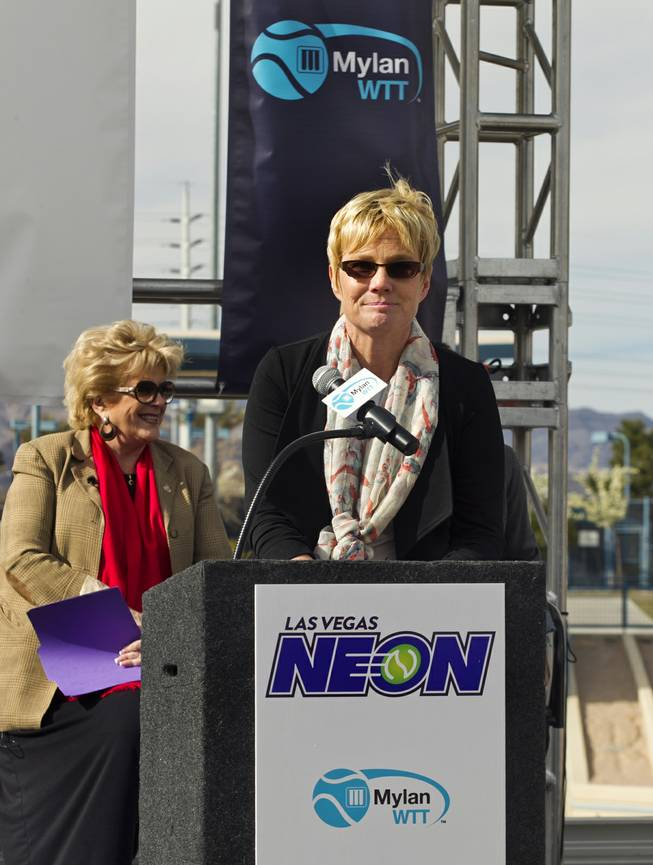 Darling Tennis Center manager Sandy Foley listens to a question during a press conference there to announce the Las Vegas Neon of the Mylan World Team Tennis on Tuesday, Feb. 04, 2014.
