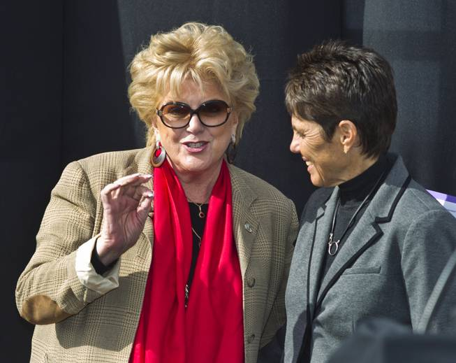 Las Vegas Mayor Carolyn G. Goodman chats with Mylan World Team Tennis CEO/Commissioner Ilana Kloss  during a press conference at the Darling Tennis Center about the arrival of the Las Vegas Neon on Tuesday, Feb. 04, 2014.