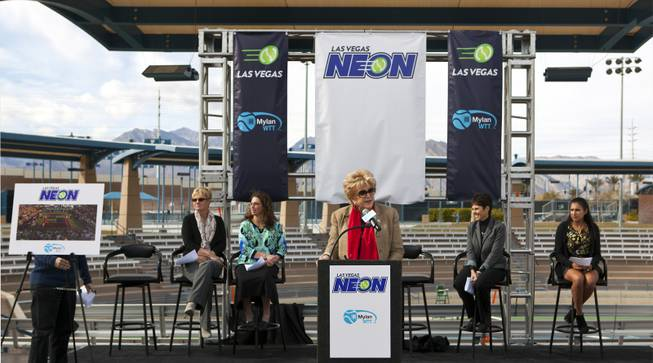 Las Vegas Mayor Carolyn G. Goodman hosts a press conference at the Darling Tennis Center to announce the Las Vegas Neon of the Mylan World Team Tennis on Tuesday, Feb. 04, 2014.