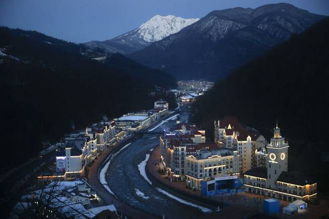 Rosa village is seen from a gondola prior to the 2014 Winter Olympics, Tuesday, Feb. 4, 2014, in Krasnaya Polyana, Russia.