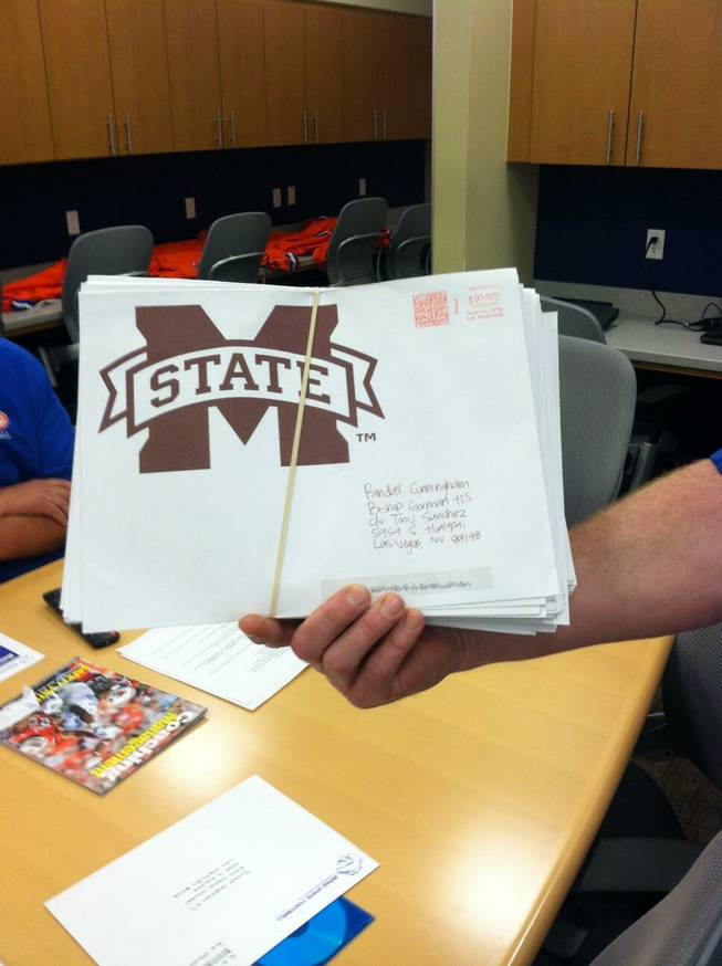 Recruiting letters for Bishop Gorman High's Randall Cunningham II from Mississippi State football in the spring of 2013.