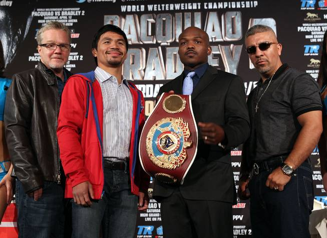 Feb.  4, 2014, Beverly Hills ,Ca.   ---  (center L-R)  Manny Pacquiao and undefeated WBO World Welterweight  champion Timothy Bradley  pose  with their trainers : (L-R) Freddie Roach and Joel Diaz during the press conference  in Beverly Hills to announce their upcoming rematch during a two-city media tour in Los Angeles on Tuesday and New York on Thursday.  Pacquiao vs. Bradley 2 will take place, Saturday, April 12 at the MGM Grand Garden Arena in Las Vegas. Chris Farina - Top Rank