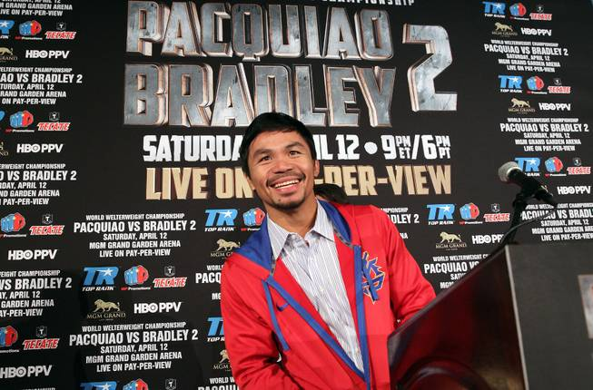 Feb.  4, 2014, Beverly Hills ,Ca.   ---   Manny Pacquiao speaks during the press conference  in Beverly Hills to announce his upcoming rematch against undefeated WBO World Welterweight  champion Timothy Bradley during a two-city media tour in Los Angeles on Tuesday and New York on Thursday.  Pacquiao vs. Bradley 2 will take place, Saturday, April 12 at the MGM Grand Garden Arena in Las Vegas. Chris Farina - Top Rank