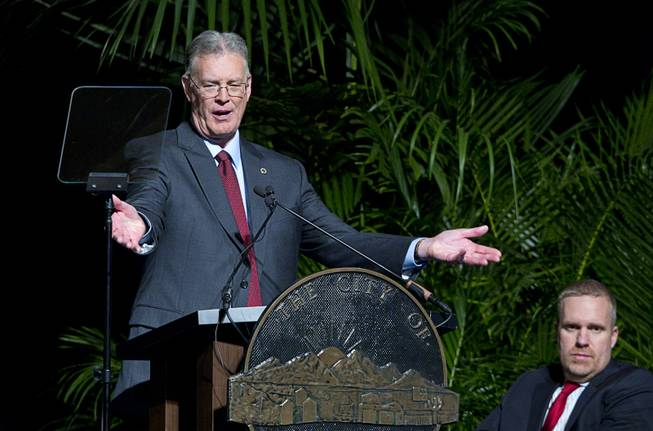 Henderson Mayor Andy Hafen delivers the State of the City address at Green Valley Ranch Wednesday, Feb. 5, 2014. At right is D.J. Allen, chairman of the Henderson Chamber of Commerce.