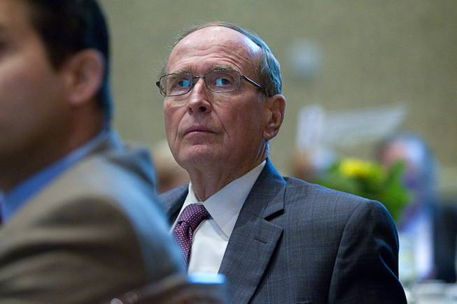 Former U.S. Sen. Richard Bryan listens to  Henderson Mayor Andy Hafen during the State of the City address at Green Valley Ranch Wednesday, Feb. 5, 2014.