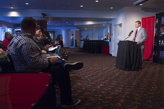 UNLV head football coach Bobby Hauck talks about new recruits during a news conference at UNLV Wednesday, Feb. 5, 2014.