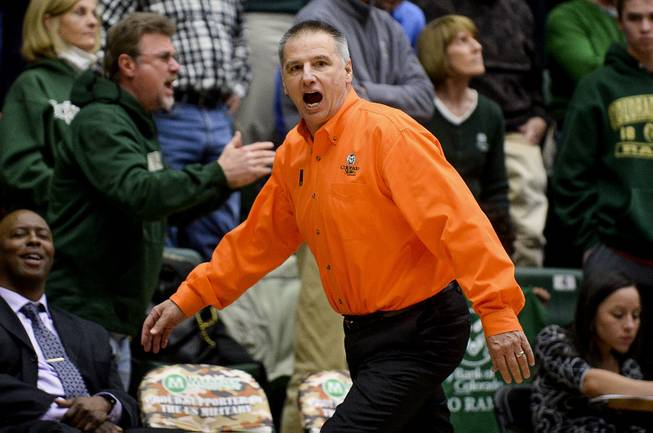 Colorado State coach Larry Eustachy yells after a play in the NCAA college basketball game against UNLV on Wednesday, Feb. 5, 2014, at Moby Arena in Fort Collins, Colo.
