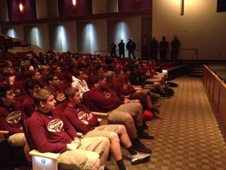 Faith Lutheran High football players during their championship ring ceremony Feb. 6, 2014.