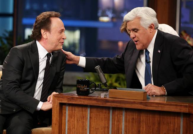 "Billy Crystal and Jay Leno appear during the final taping of NBC's ""The Tonight Show With Jay Leno"" on Thursday, Feb. 6, 2014, in Burbank, Calif."