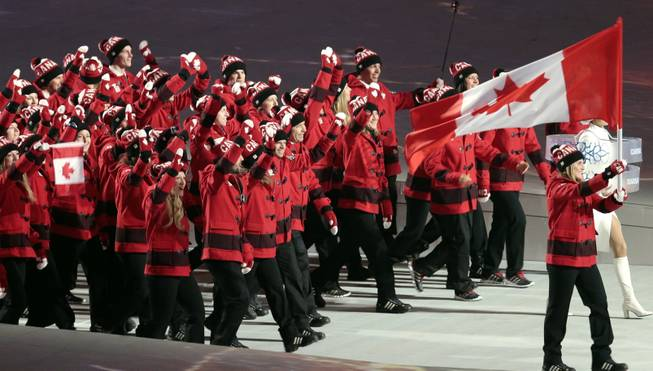 Hayley Wickenheiser of Canada carries her country flag as they arrive during the opening ceremony of the 2014 Winter Olympics in Sochi, Russia, Friday, Feb. 7, 2014.