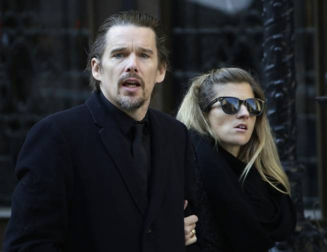 Ethan Hawke arrives for the funeral of actor Philip Seymour Hoffman at the Church of St. Ignatius Loyola, Friday, Feb. 7, 2014 in New York. Hoffman, 46, was found dead Sunday of an apparent heroin overdose.