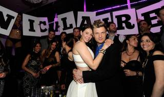Nick Carter and Lauren Kitt celebrate their joint bachelor and bachelorette parties at Ghostbar on Saturday, Feb. 8, 2014, in the Palms.
